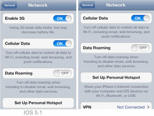 iOS 5.1 permite desconectar el 3G en iPhone 4S