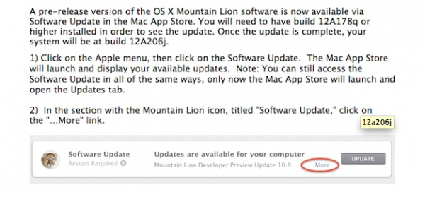 Nueva actualización para Mountain Lion Developer Preview 3