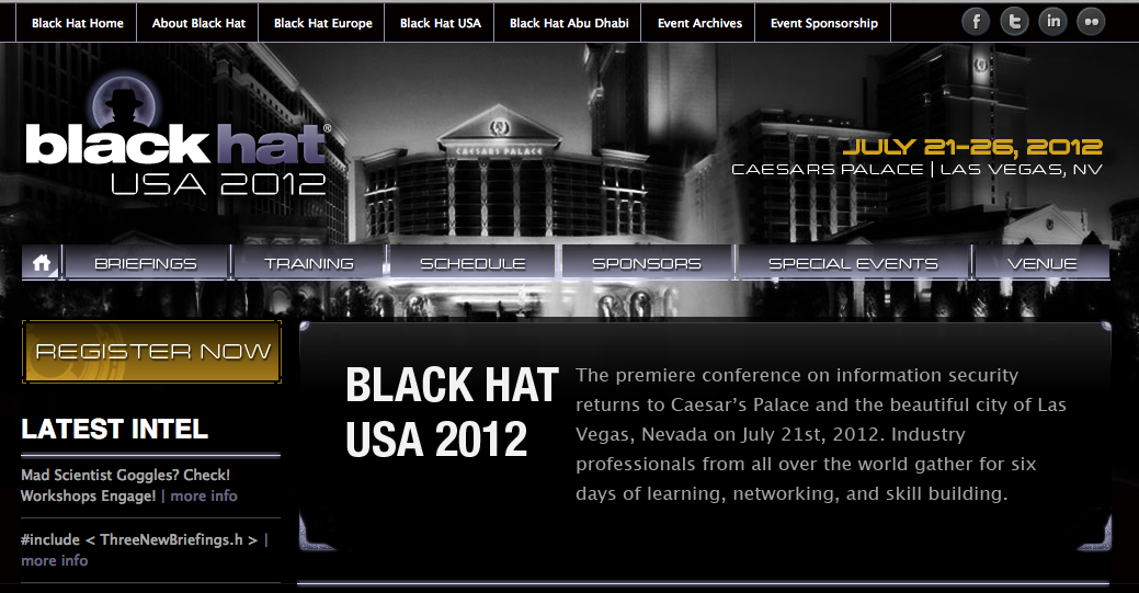 Conferencia Seguridad Informatica Black Hat 2012