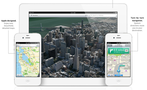 mapas iOS 6 en iPhone 4