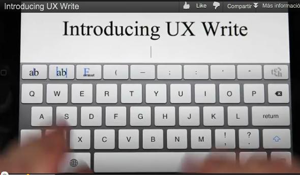 UX Write procesador texto iOS