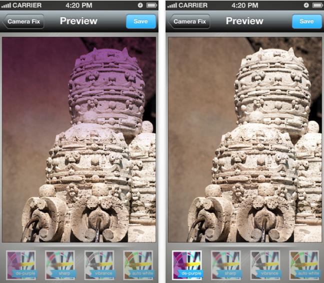 Camera Fix filtro púrpura
