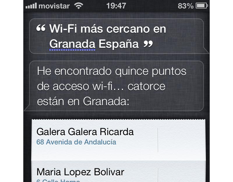 Siri ¿Muéstrame el WiFi más cercano en Granada?