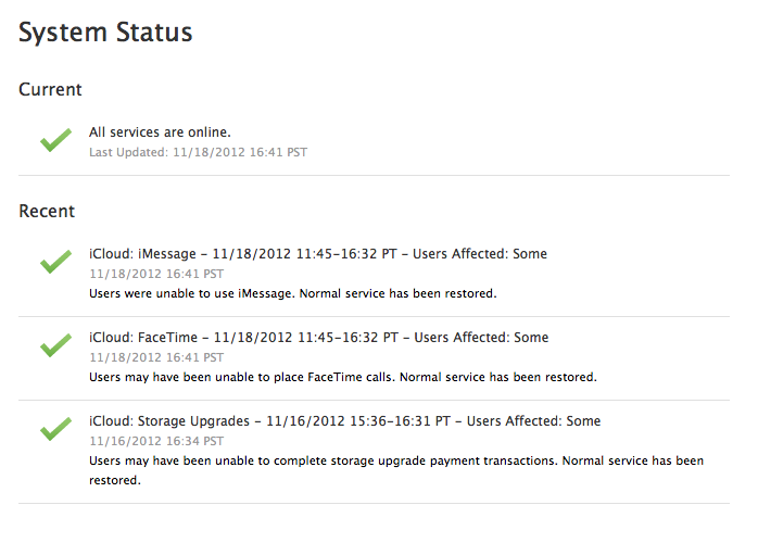 verificar problemas en iMessages y FaceTime