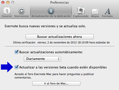 preferencias evernote 5