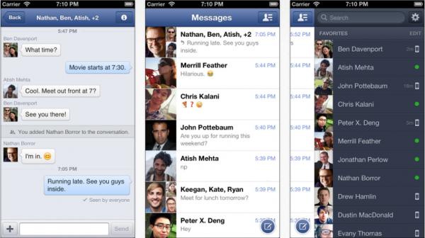 Facebook Messenger interfaz