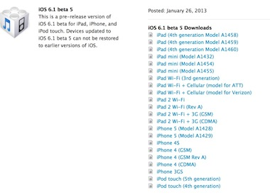 Disponible iOS 6.1 Beta 5 para los desarrolladores
