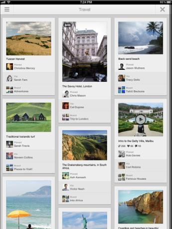 Pinterest para iOS ipad-retina