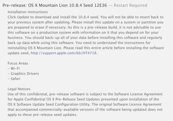 OS X 10.8.4 nueva beta liberada por Apple (12E36) para los desarrolladores