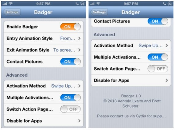 Tweak Badger-configuracion