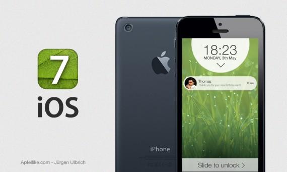 concepto IOS 7 junto al iPhone 5S-1