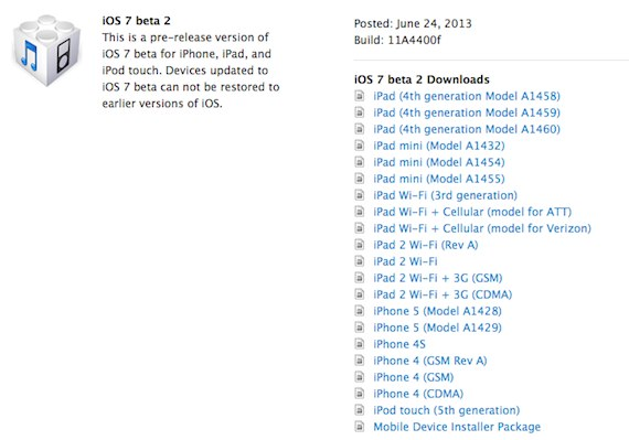 ios 7 beta 2 para ipad