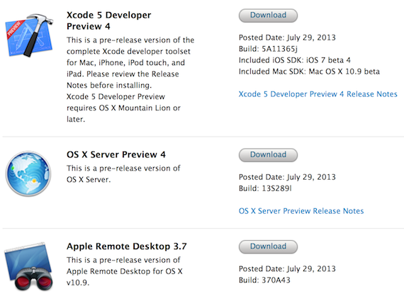 Xcode 5, Remote Desktop,OS X Server.