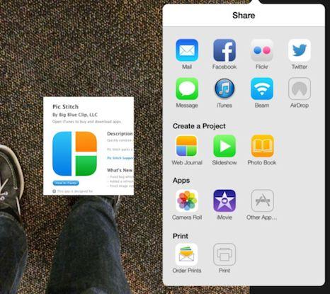 iOS 7 copia los gráficos de Pic Stitch