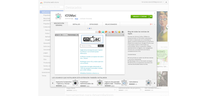 Extensión iOSMac para Chrome disponible en Chrome Web Store
