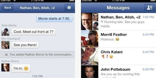 Facebook retira el chat de su aplicación para iPhone
