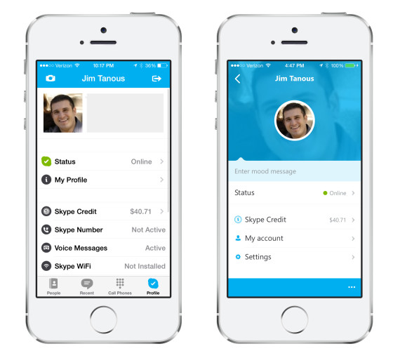 Skype en iPhone 5S