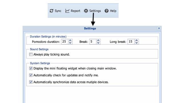 Configuraciones posibles en la aplicación TeamViz