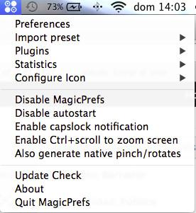Opciones aplicación MagicPrefs