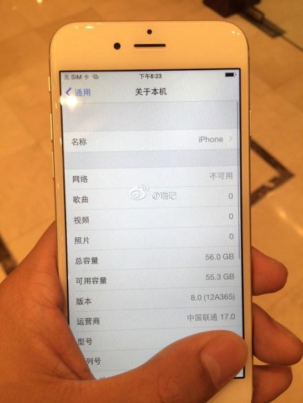 iPhone 6 menú información