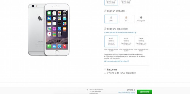 iPhone 6 y iPhone 6 Plus mejoran la disponibilidad para el modelo de 16 y 64GB