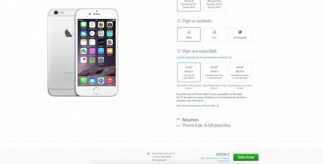 iPhone 6 y iPhone 6 Plus mejoran la disponibilidad para el modelo de 16 y 64GB