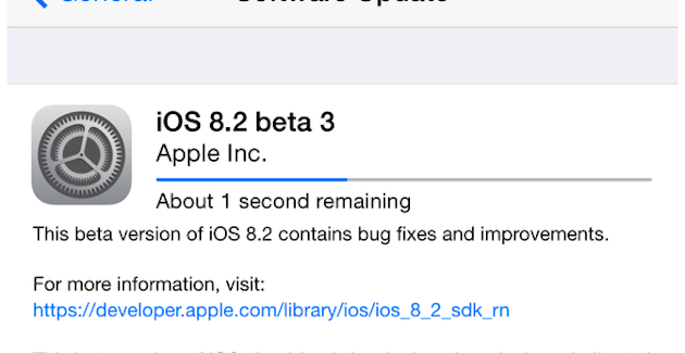 Disponible iOS 8.2 beta 3 disponible para desarrolladores
