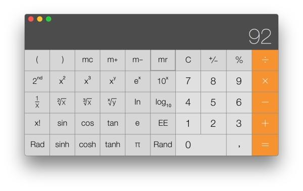 Calculadora OS X Científica