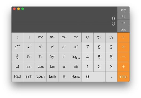 Calculadora científica en modo RPN