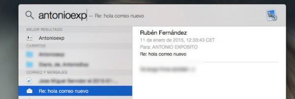 Riesgo en el correo con OS X Yosemite y Spotlight - iosmac