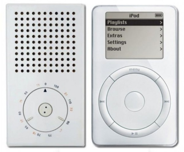 Braun pocket radio y Apple iPod. (diseños de Apple) (apple and braun designs)