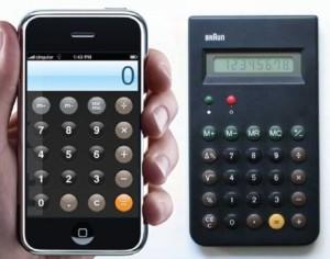 Braun calculadora y la app calculadora de Apple