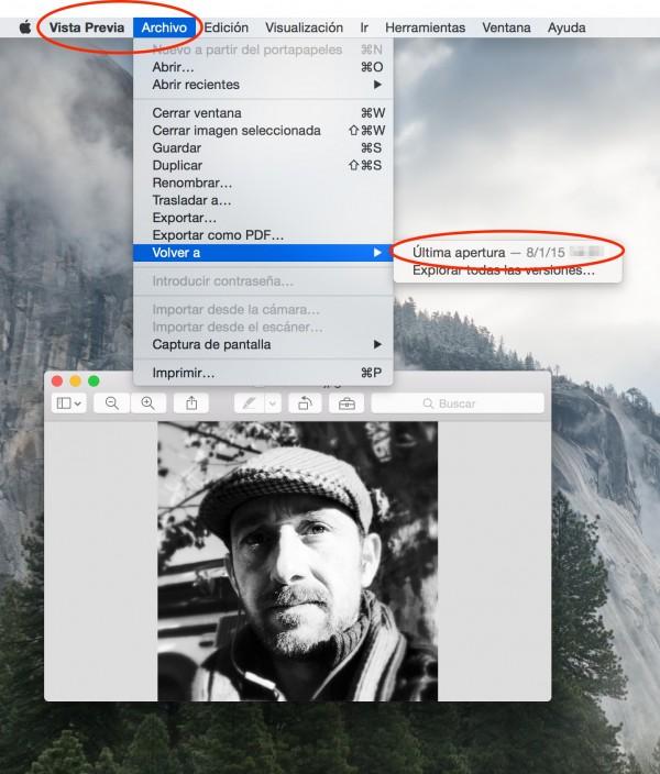 Como restaurar el historial de edición de imágenes en Mac