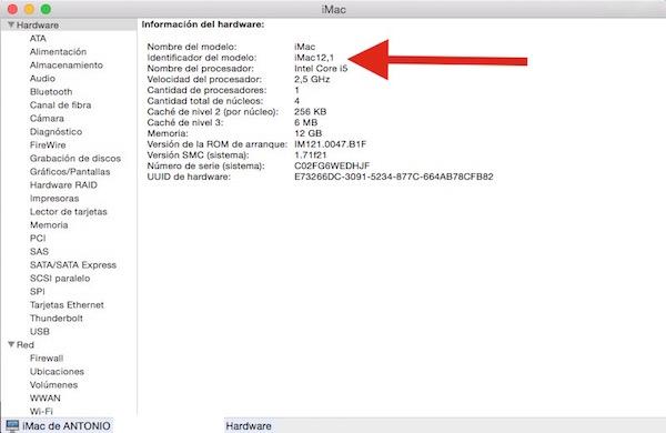 Identificador del modelo de un iMac