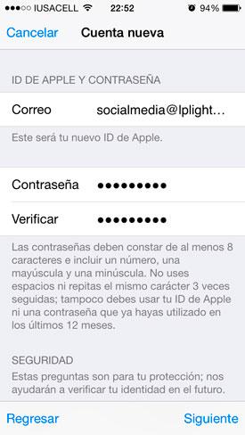 Llenar la información solicitada por Apple