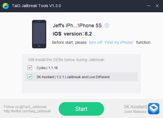 jailbreak iOS 8.2 beta 2 con TaiG en Windows