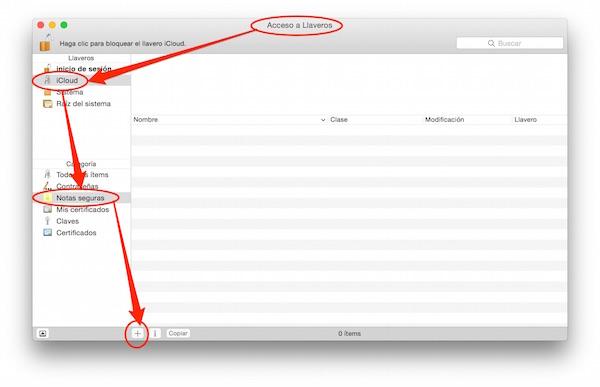 Acceso a Llaveros, iCloud, notas seguras