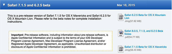 Betas de Safari disponibles para desarrolladores