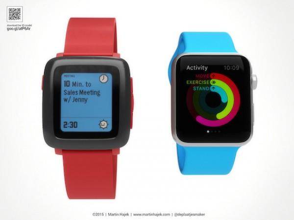 Comparación Pebble y Apple Watch