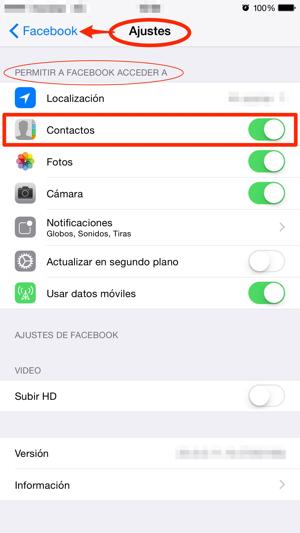 Como evitar que Facebook acceda a tus contactos (iOS)