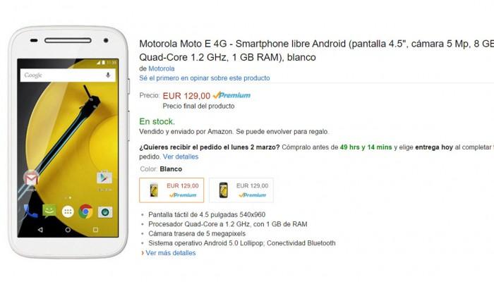 Motorola Moto E 4G disponible por 129 euros en Amazon