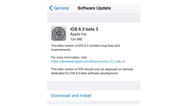 iOS 8.3 beta 3 disponible para desarrolladores