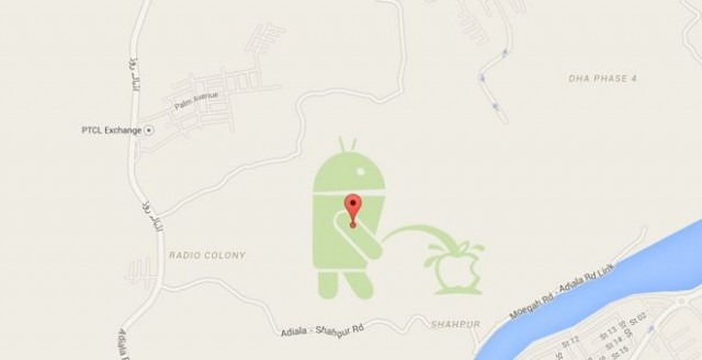 Aparece en Google Maps la mascota de Android orinando en el logo de Apple