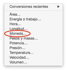 Listado de conversiones de la calculadora