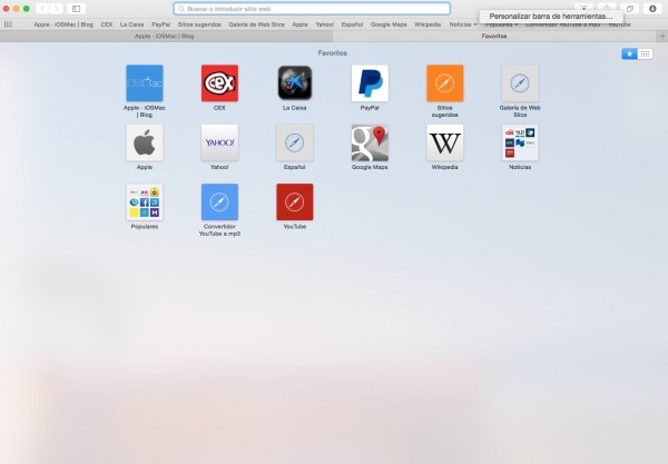 Barra de herramientas Safari