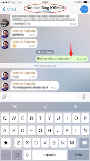 Símbolo en un chat de Telegram