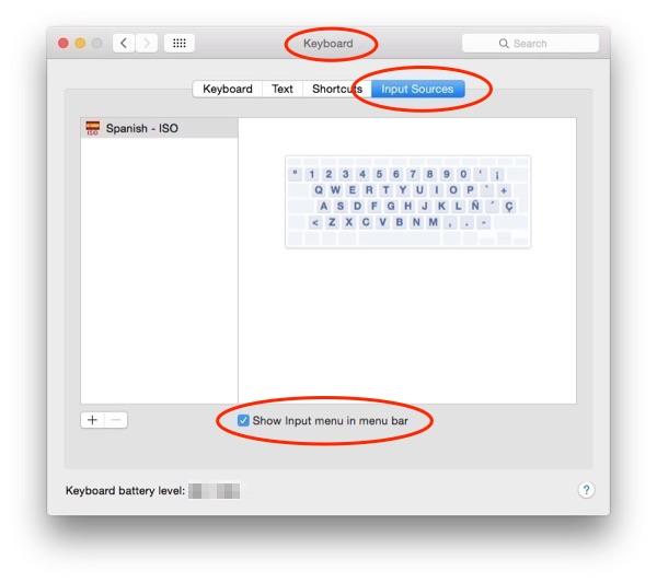 System Preferences - keyboard