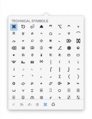 Symbols popover got by hitting a shortcut