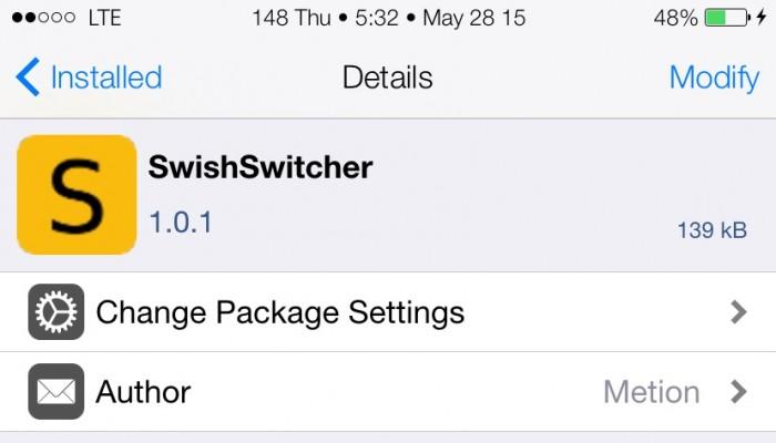 SwishSwitcher: Tweak que reproduce un sonido al cerrar una app
