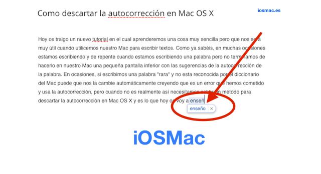 Como descartar la autocorrección en Mac OS X